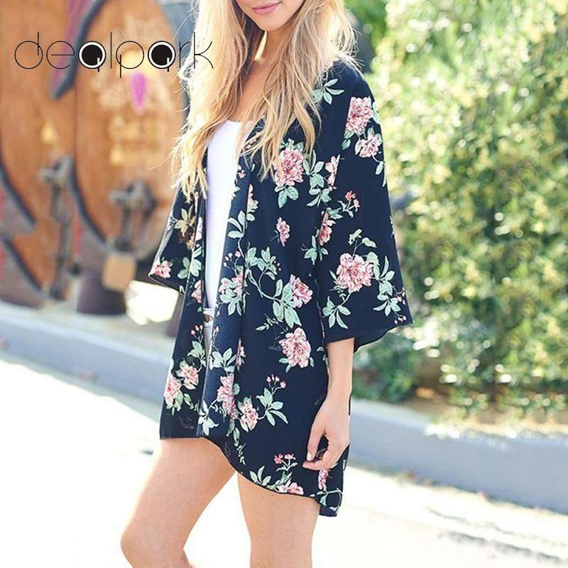 abcfea4f361ff 2019 2019 Summer Kimono Cardigan Women Chiffon Kimono Floral Print ...