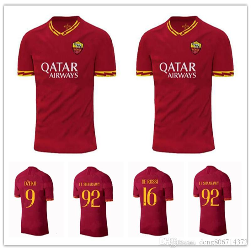 f356ca210 2019 2019 2020 ROMA Soccer Jersey 19 20 HOME Rome DE ROSSI DZEKO EL  SHAARAWY PASTORE KOLAROV AS Maglietta Da Calciatore Casa Rosso Football  Shirt From ...