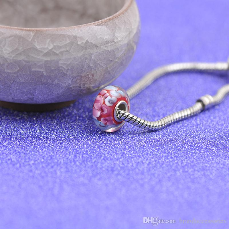 Shining Pink Flowers Red Murano Glass Beads S925 Silver Core Charms Fit Pandora Bracelets Necklace DIY Girl Jewelry Accessories PDZ112