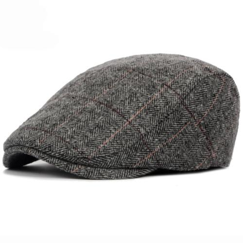 76a98e670c5 2019 2018 Autumn Winter Men Cap Hats Berets British Western Style Wool  Advanced Flat Ivy Cap Classic Vintage Striped Beret Cap From Blackfridayes