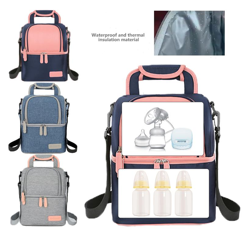 0a510ee2dfc7 Thermal Insulation Cooler Lunch Bag Baby Insulation Breast Milk Bag Double  Layer Keep Ice Pack Food Fruit Storage Backpack