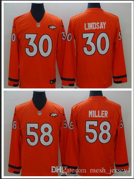 brand new 1fc32 a0b9a Men Women Denver Broncos 30 Phillip Lindsay Jersey 58 Von Miller Therma  American Football Long Sleeve Jersey