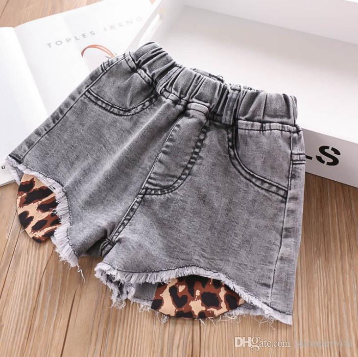 Fashion kids tassel adenim shorts girls leopard grain lining double pocket casual jean short pants children elastic cowboy hot shorts F6389
