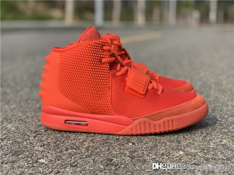 brand new 1fd86 7cd19 2019 New Kanye West Air 2 SP Red October Men Basketball Shoes Fashion Red  High Quality Sports Sneakers 508214-660 With Box