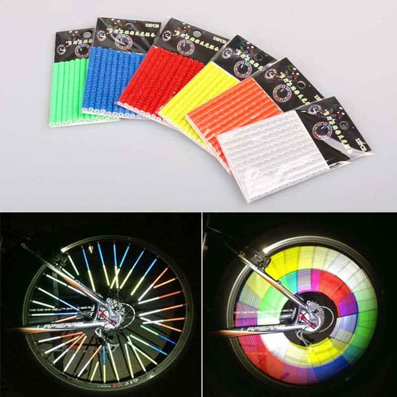 12Pcs Bicycle Light Wheel Rim Spoke Clip Tube Safety Warning Light Cycling Strip Reflective Reflector Mountain Bike Riding Accessories