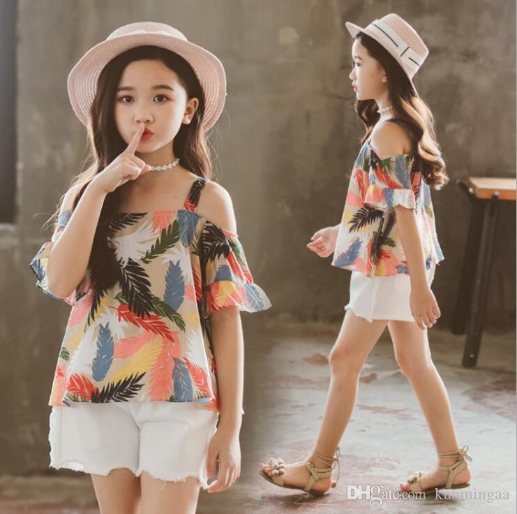 5125b02d706b4 Acheter Vêtements D'été Pour Filles Ensembles En Coton À Épaules ...