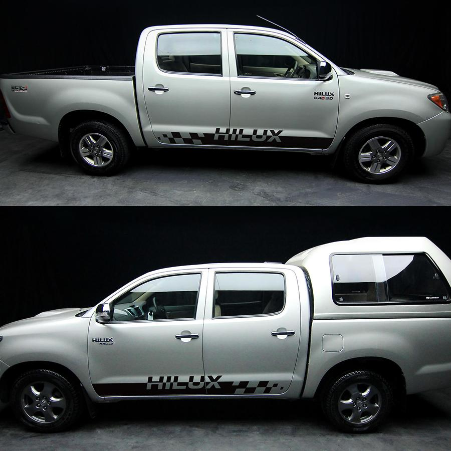 Free shipping hilux stripe side door graphic vinyl racing car sticker for toyota hilux vigo and revo accessories