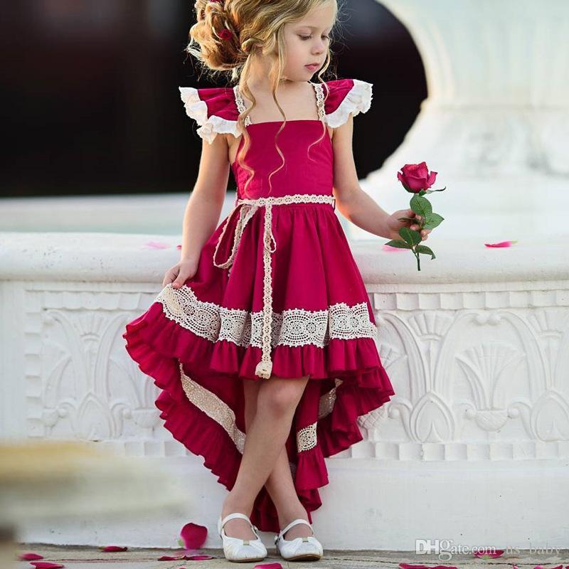12e85cae8 Compre Vestidos Infantiles Para Niñas Vestidos De Encaje Sin Espalda Baby  Red Vestido De Fiesta Fiesta De Cumpleaños Para Niños Pequeños.