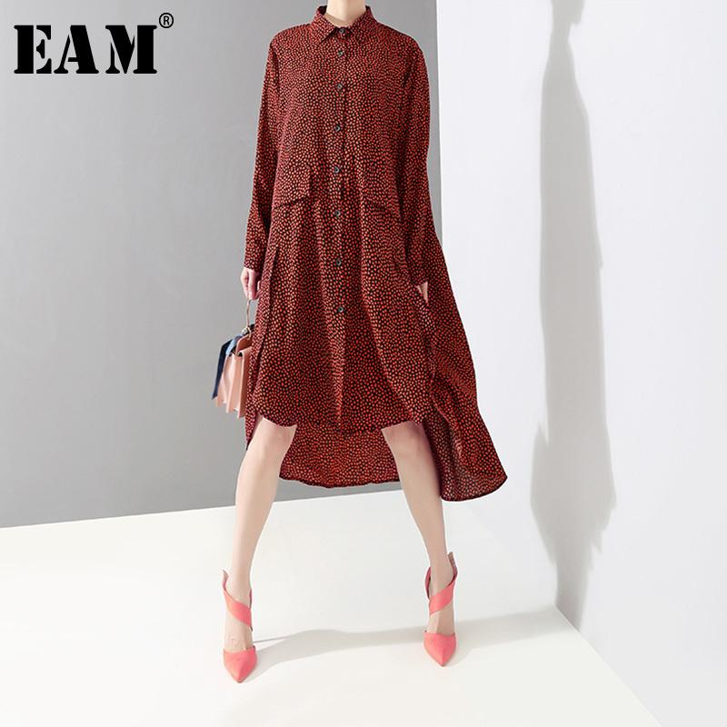 d2cef9ecb10 EAM 2019 New Spring Summer Lapel Long Sleeve Red Dot Printed Irregular Hem  Loose Big Size Shirt Dress Women Fashion JO663 Purple Lace Maxi Dress Short  And ...