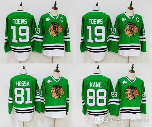 6e7f9270a5d 2019 Green Chicago Blackhawks Jersey 19 Jonathan Toews 81 Marian Hossa 88  Patrick Kane Jersey Stitched Hockey Jerseys From Fair Trade, $21.32 |  DHgate.Com