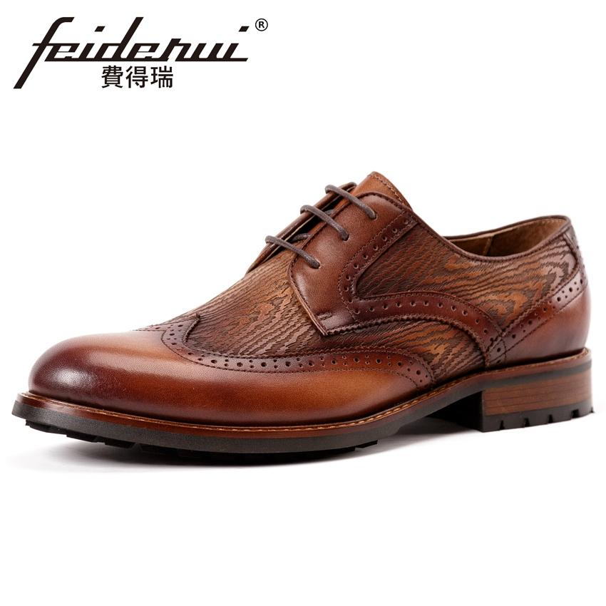 4c7795c7b72 New Arrival Genuine Leather Men's Handcrafted Derby Flats Round Toe Man  Formal Dress Wedding Party Wingtip Brogue Shoes KUD267