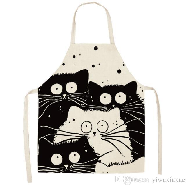 d113e209214f7 Creative Cats Cooking Kitchen Aprons Adjustable Woman Adult Bibs Cooking  Baking Coffee Shop Cotton Linen Printed Cleaning Aprons