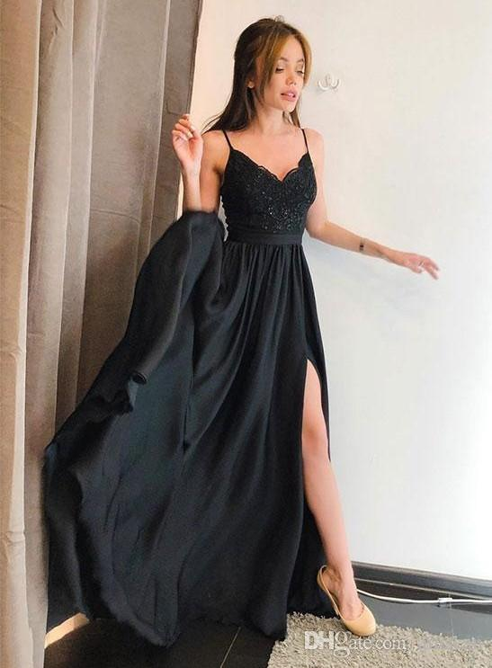 Black Spaghetti Straps Long Prom Gowns A Line Side Split Evening