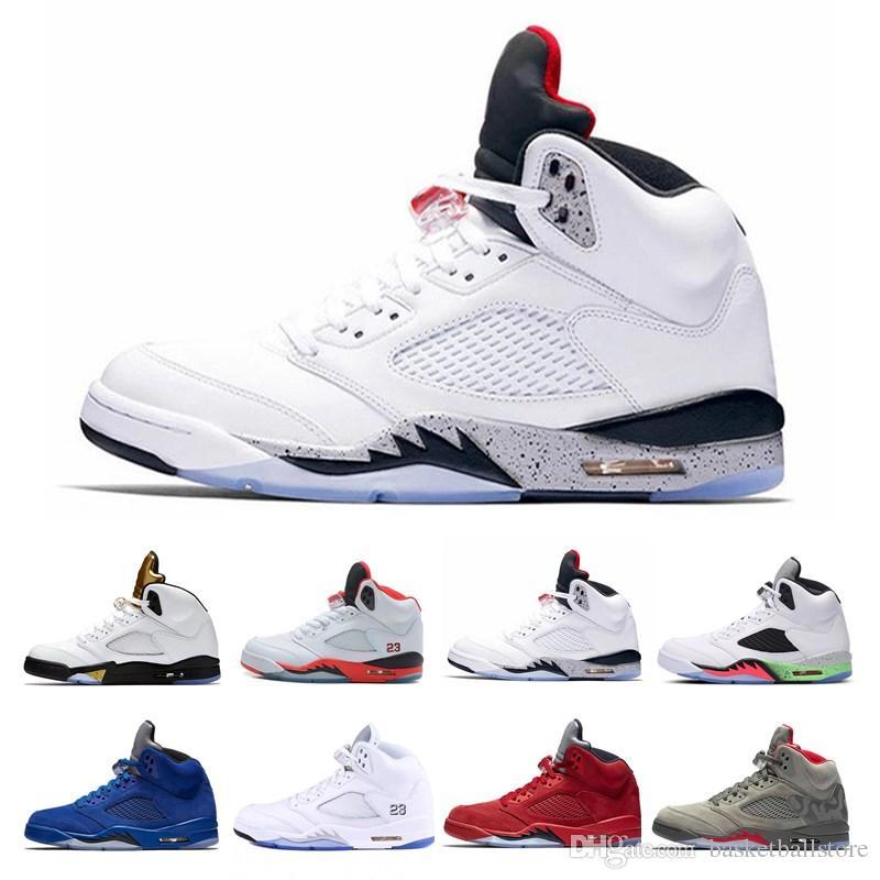 reputable site d1ee0 beead Acheter 2019 Nike Air Jordan 5 Retro 5s International Chaussures De  Basketball Taureaux 12s Platine Teintée Concord 11s Black Cat 13s Le Prince  Frais Hommes ...