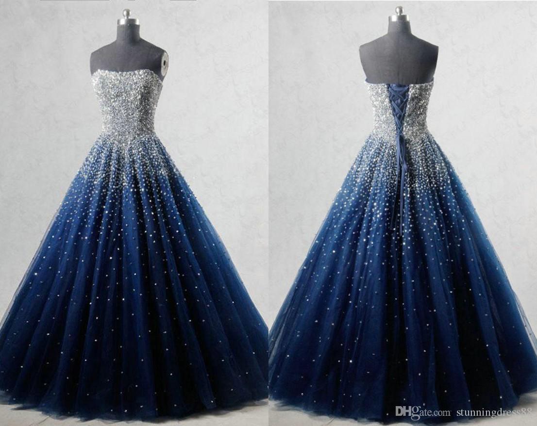 046d16614 ... Azul Marino Bling Beads Quinceañera Vestidos De Baile 2019 Vestido De  Bola De Tul Cristales Corsé Sin Tirantes Barato Dulce 16 Vestido Vestidos  15 Años ...