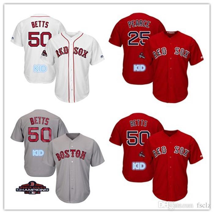 Kid Custom Boston Red Sox 2018 World Series Champions Patch Mookie ... e91cb9da8