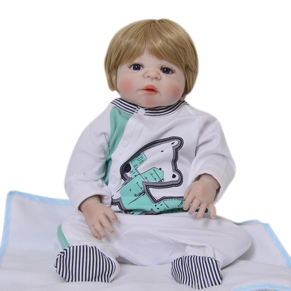 Full Vinyl Silicone Reborn Baby Boy Doll 23 57cm New Born Babies ... 968650cec1af