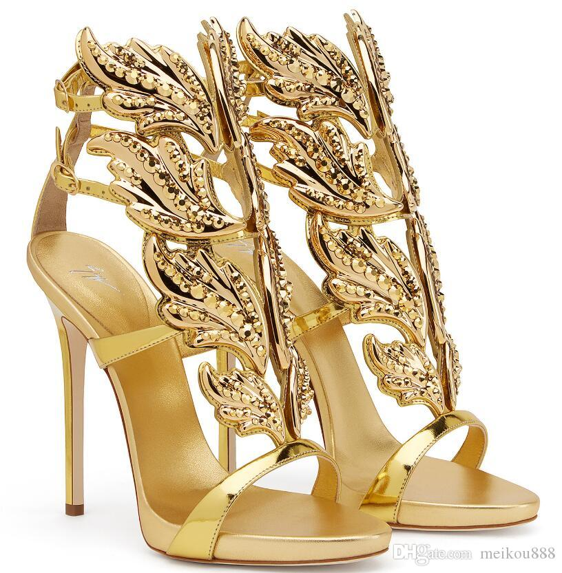 Hot Sale Golden Metal Wings Leaf Strappy Dress Sandal Silver Gold Gladiator  High Heels Shoes Women Metallic Winged Sandals Size 35 42 Skechers Sandals  Sexy ... 60cc82789954