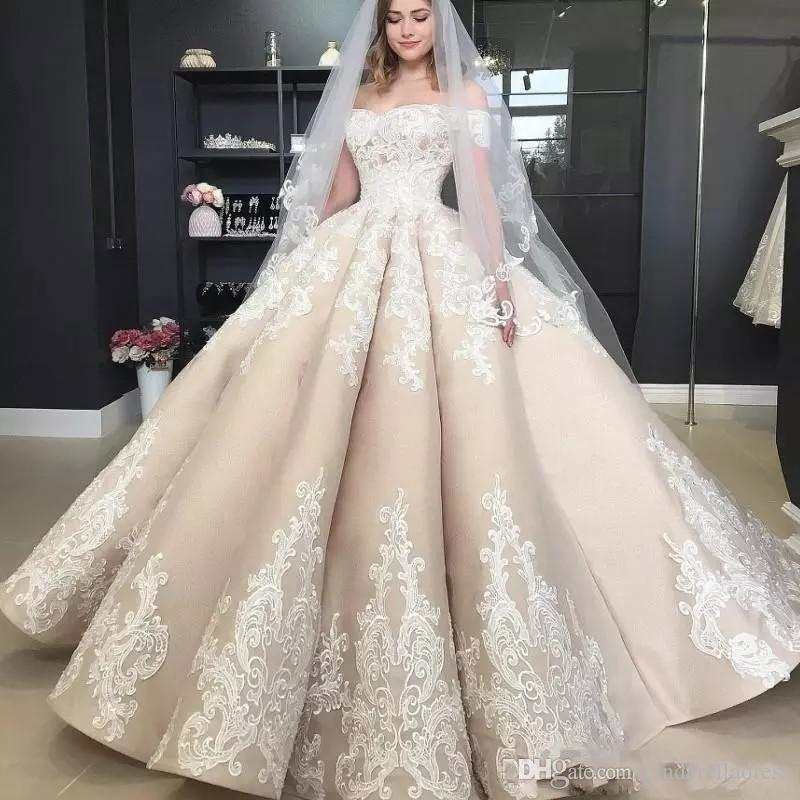 Vintage Puffy Ball Gown Champagne Wedding Dresses Off The Shoulder Applique 2019 Off Shoulder Full length Church Princess Wedding Gown