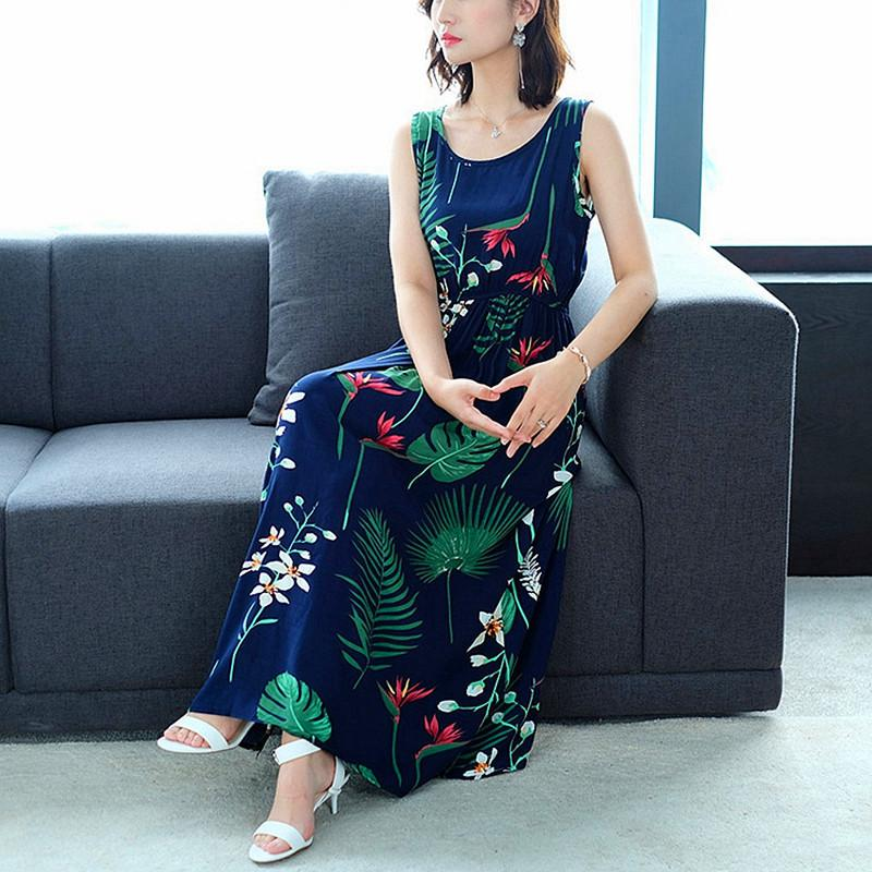 eb4f034ae39f3 Floral Print Dresses 2019 Summer Women Dress Sleeveless Long Bohemian Dress  Maxi Beach Boho Vintage Female Elegant Vestido