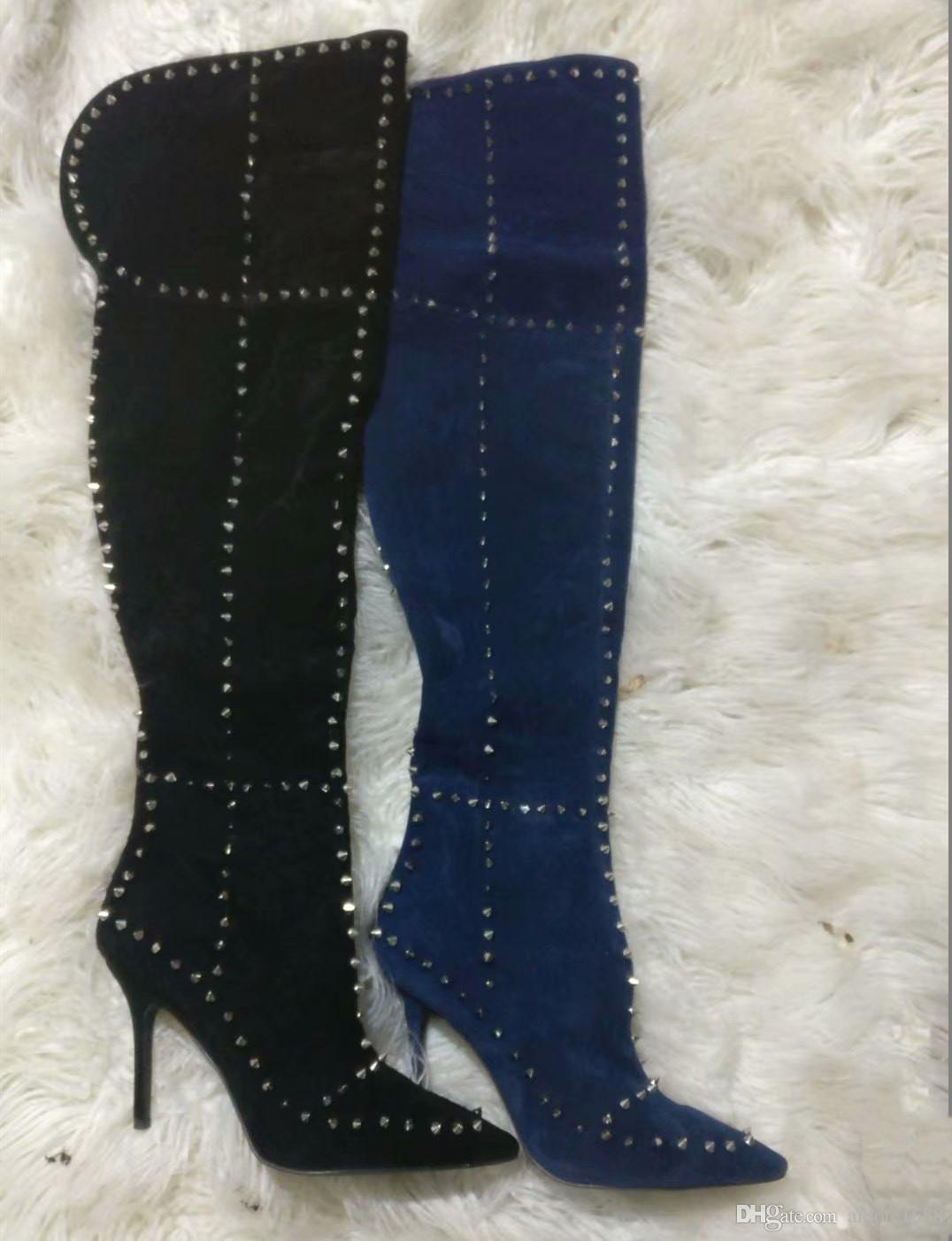 ca414c7bfb7 Sexy Spikes Women Thigh High Boots Pointed Toe Suede Over The Knee Boots  Female Stiletto High Heels Pumps Rivets Bottines Casual Party Shoes Shoes  Online ...