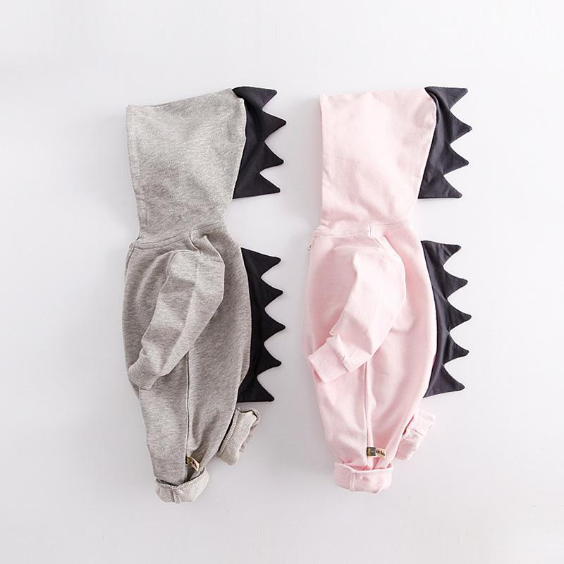 8adad1286e73 2019 Baby Dinosaur Romper Long Sleeve Cotton Hooded Romper Baby Romper  Zipper Jumpsuit For 0 2Years Old From Hemane