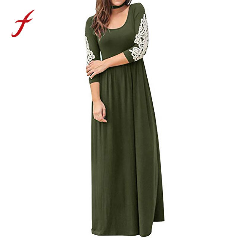 ced3b4d174885b 2019 Women Clothing 2018 Newest Women Solid Applique Floor Length Three  Quarter Sleeve High Waist Boho Long Dresses Roupas Femininas Y19012201 From  ...