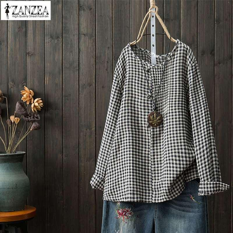 2ea8a6a374 2019 Zanzea 2019 Women Causal Plate Button Blouse Plus Size Tunic Top  Female Vintage Check Party Shirt Lady Plaid Work Blusa Feminina Y190427  From Tao01, ...