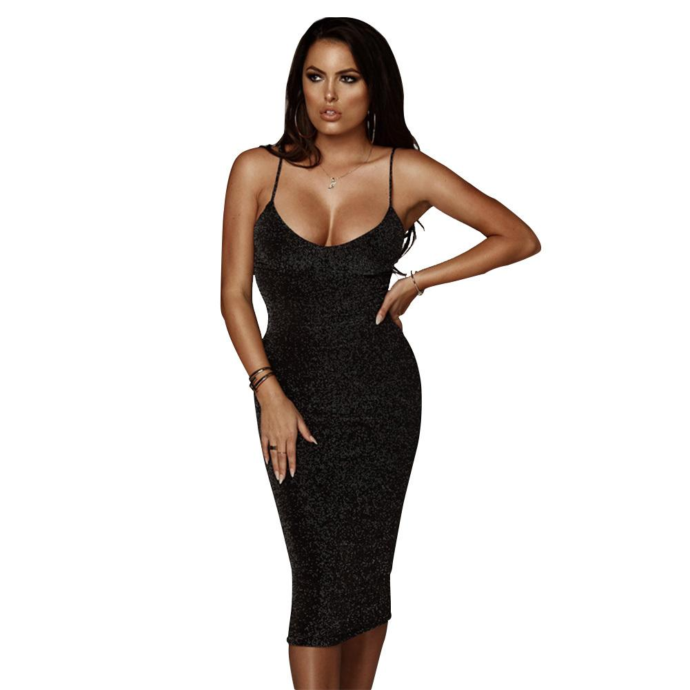 7e9f1dc26957cb Sexy Women Spaghetti Strap Dress Glitter Mid Calf Bodycon Dress O Neck Sleeveless  Party Club Bandage Pencil Dresses Summer 2019 Black And Red Dresses For ...