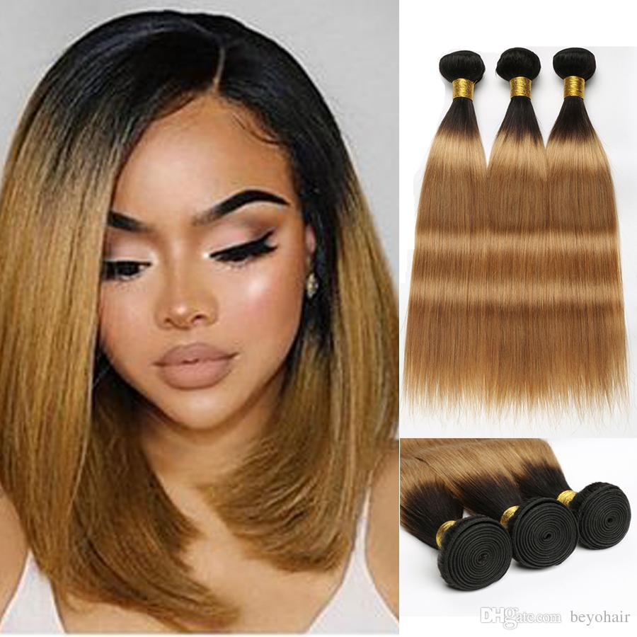 Beyo Malaysian Straight Hair Bundles 100% Ombre Human Hair 3 Bundle Deals Two Tone 1B/27 Honey Blonde Color 12-24 Inch Remy Hair Extension