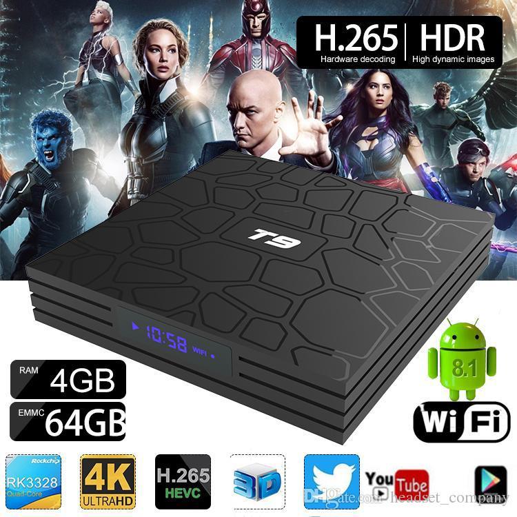 T9 64GB Android 8 1 Smart TV BOX RK3328 Quad Core 4K HD Media Player 2 4G  5GB Dual WIFI Set Top Boxes
