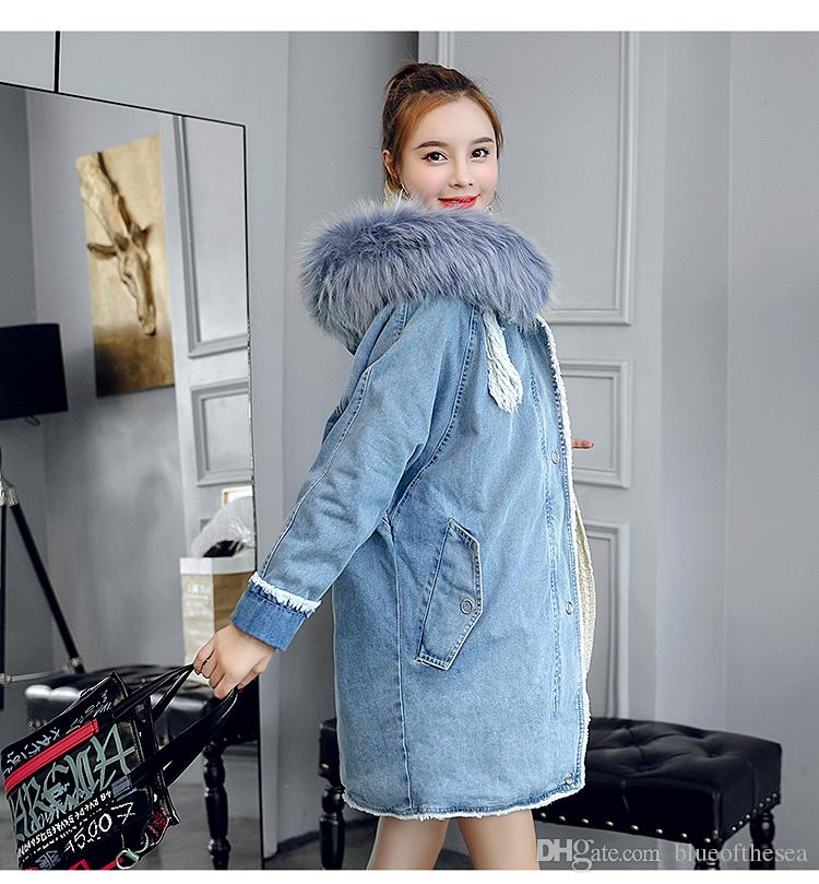 buy online e8681 fe88b Giacca donna autunno inverno con cappuccio in pelliccia sintetica patchwork  tasca cappotto denim moda manica lunga femminile