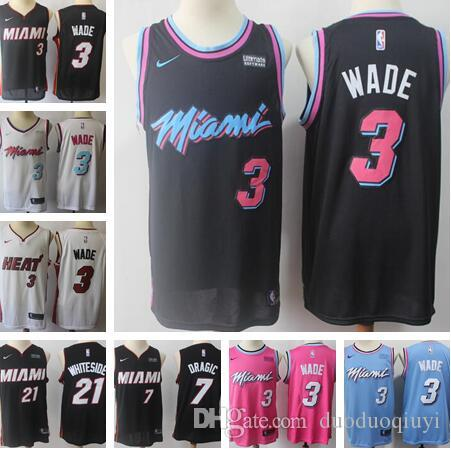 40b953f880bc Men Miami New Heat Dwyane 3 Wade Jerseys Hassan 21 Whiteside Jersey ...