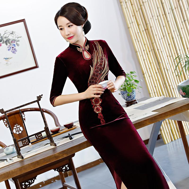 Mandarin Collar Fiesta Womens Primavera Estilo De Vestidos Qipao Delgado 2019 Sexy Largo Velour Chino Vestido Cheongsam Tradicional iXPkZOu
