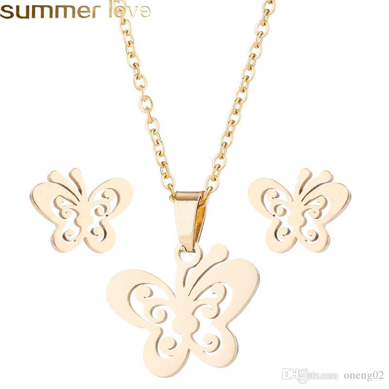 Stainless Steel Butterfly Necklace For Women Jewelry Sets Animal Butterfly Necklaces Pendants Cute Earrings Kids Gifts Jewelry Accessories