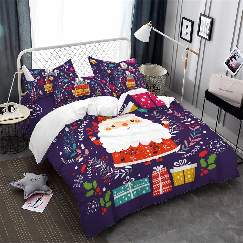 Copripiumino Colorato.Acquista New Christmas Bedding Set Cartone Animato Babbo Natale