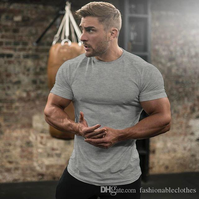 European gym code pure monochrome fitness men's round collar exercise training tight cotton T-shirt muscle short sleeves