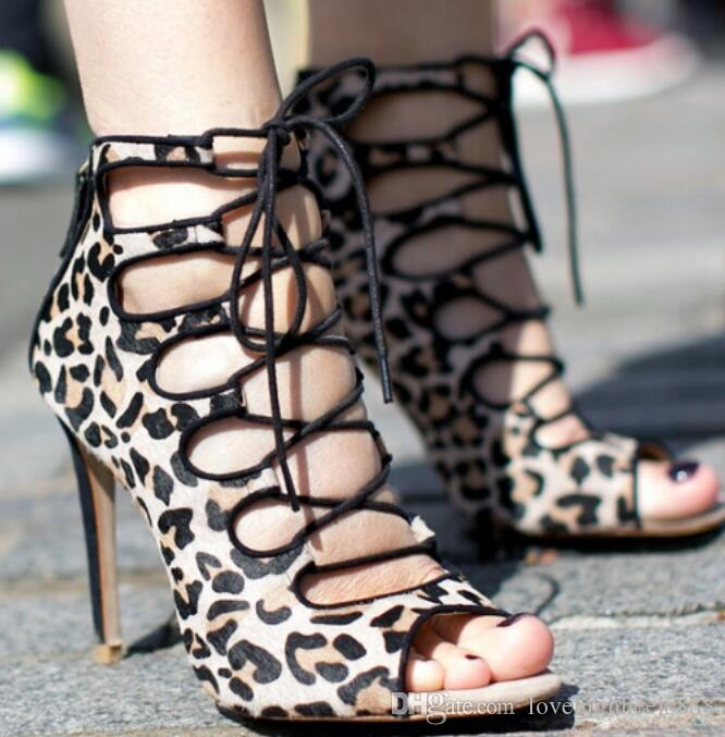 Fashion Sexy Leopard Suede Leather Peep Toe Lace-up High Heel Pumps Designer Cut-out Women Dress shoes woman Size 34-42