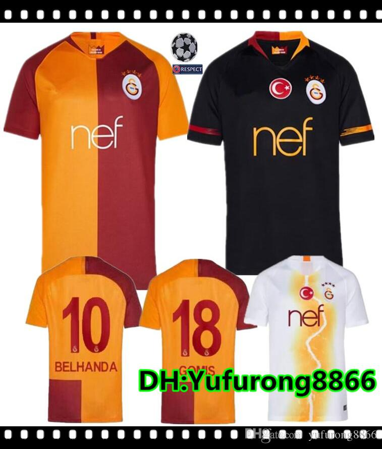 new arrival 682b1 81f78 2018 2019 Galatasaray soccer jersey home Champions League 18 19 away 3rd  CIGERCI BELHANDA FERNANDO FEGHOULI FOOTBALL kit SHIRT