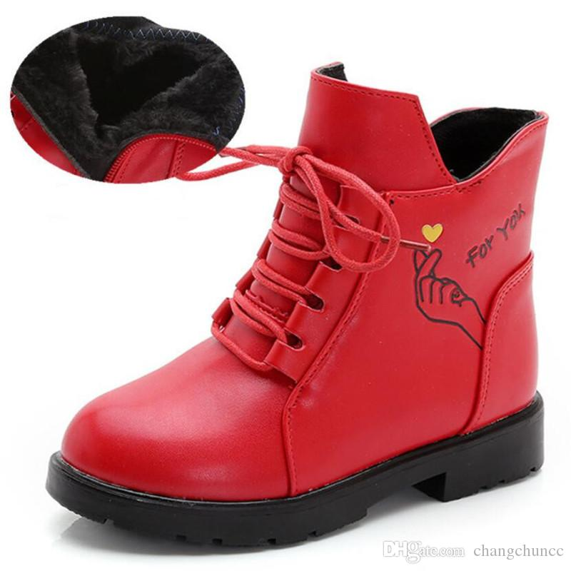 Girls Boots Children's Winter Boots Shoes Waterproof Martin Boot Ankle For Kids Female Snow Fur Red Black