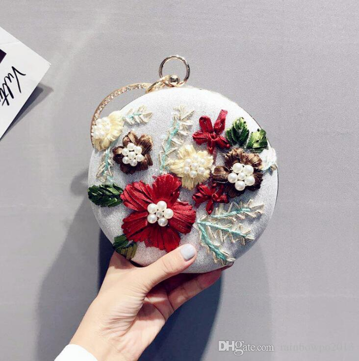 Outlet Brand Women Handbag Original Design Handmade Embroidery Round Dinner  Bag Sweet Embroidery Hand Chain Bag Fashion Pearl Banquet Han Handbag Sale  Cheap ... 3ead11e1dacc2