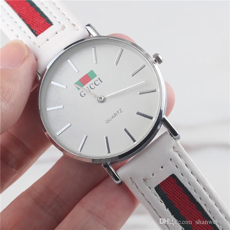 0dca2c2a6ee5 Compre Orologio Nueva Llegada Hombre De Lujo Marca Casual Relojes Hombres  40 MM Vestido De Cuero Militar Cara Blanca Para Hombre Reloj Ragazzo Relojes  De ...