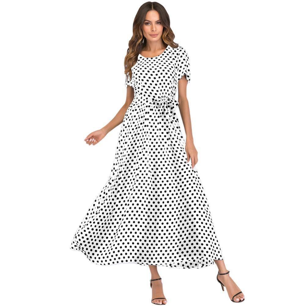 173880aeb2a 2019 Casual Summer Dress XXXL 4XL 5XL Plus Size Women Long Polka Dot Dress  Short Sleeve High Waist Tie Vintage Beach Maxi Dress Short Cocktail Party  Dresses ...