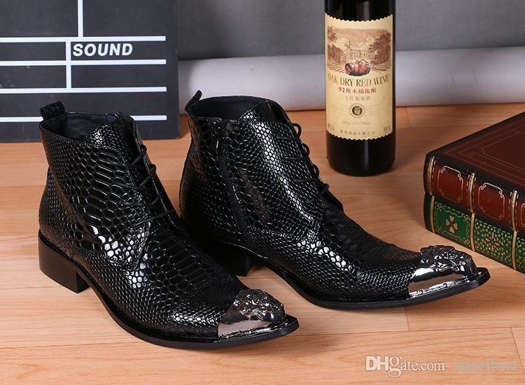 d1688b0701de3 Metal Rivets Pointed Toe Black Mens Boots Snake Pattern Genuine Leather  Ankle Boots Work Busines Men Dress Shoes Punk Motorcycle Boots