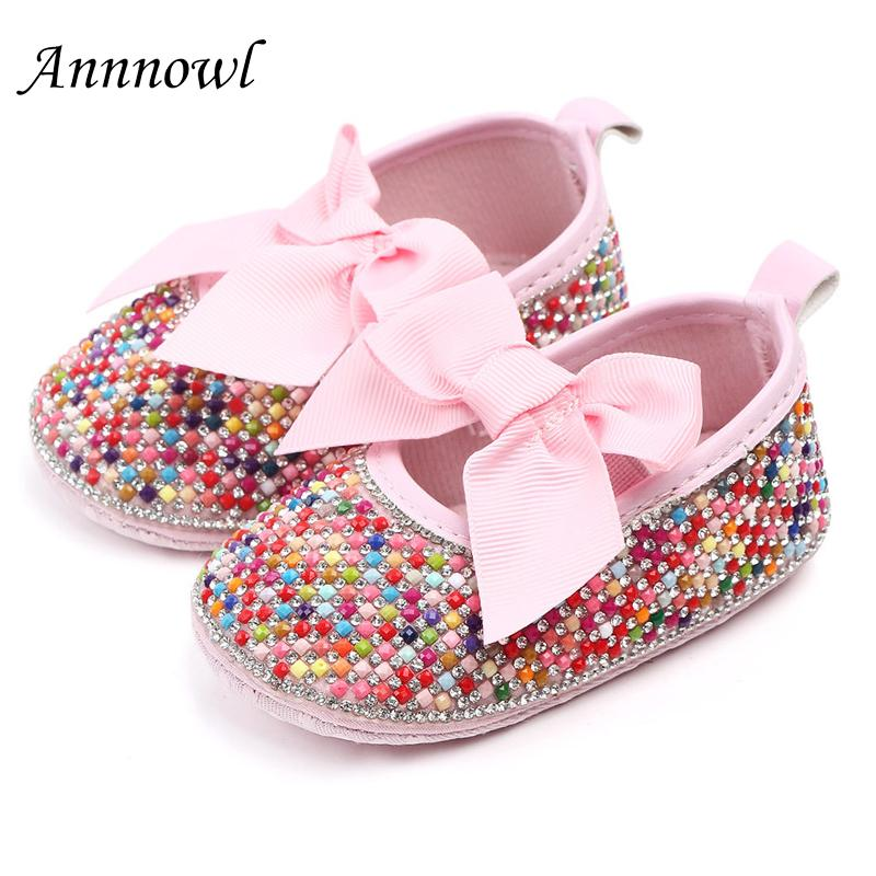 9dcca0cf8b7cc Newborn Baby Girl Shoes Princess Party Shoes Toddler Footwear Infant Bows  First Walkers Pink Silver Sparkling Rhinestones Flats