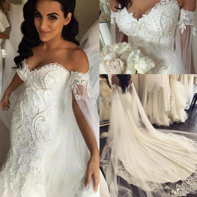 Designer Full Lace Mermaid Wedding Dresses with Cape Sleeve Off Shoulder  Lace Appliques Pearls Bridal Gowns Open Back Wedding Dress Vestido De Novia  Plus ... 2c6a7c3c04cc