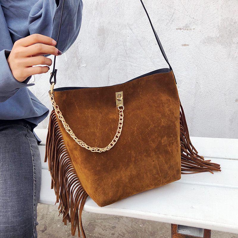 f4a10a067887 Vintage Tassel Bucket Bag Female Scrub Leather Chain Handbags for Women  Fashion Large Shoulder Messenger Bag Casual Big Tote Sac