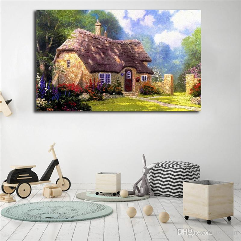 Fairy Tale Cottage Thatched Cottages By Thomas Kinkade Art Canvas Poster Painting Wall Picture Print Home Bedroom Decoration Framework