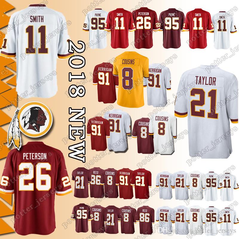 half off a9b59 ca63e Cheap sales Washington Redskins Jerseys 21 Sean Taylor 11 Alex Smith 29  Derrius Guice 26 Adrian Peterson 91 Ryan Kerrigan 86 Reed Jersey
