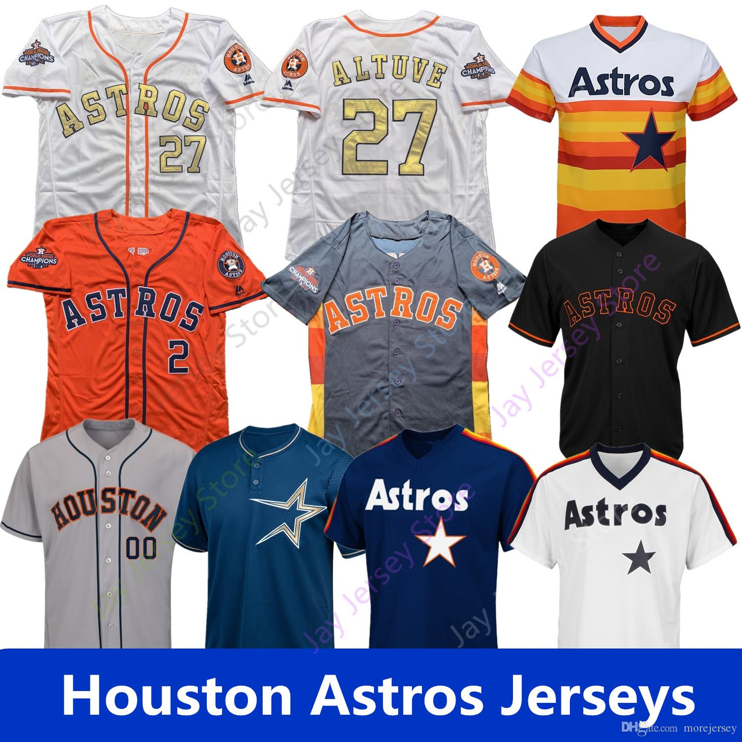 huge discount 09378 a13d5 Custom Astros Alex Bregman Jersey Houston Correa Springer Jose Altuve  Verlander Ryan Bagwell Biggio Gurriel Brantley Cole Kemp Osuna